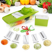 Mandoline Slicer,Potato Slicer,Kitchen Mandolines Slicer,Veggie Slicer,Vegetable Slicer,Veggie Chopper,Vegetable Grater,Julienne Slicer,FoodSlicer Cutter for Cucumber With 5 Interchangeable Blades