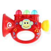 Qiyun Trumpet Toy Baby Children Mini Trumpet Horn with Cute Monkey Pattern Toy Educational Musical Instrument Toystyle:red