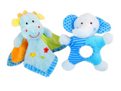 Baby Blanket Lovey & Elephant Rattle with Mirror