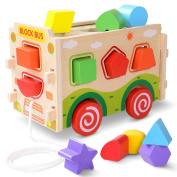Large Wooden Shape Sorter Bus with Tangram ,Classic 3D Push Pull Truck Toy for Toddlers & Baby Colour Recognition and Geometry Learning
