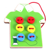 Aibearty Wooden Threading Buttons Wear Rope Matching Lacing Board Toys for kids
