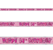 2.7m Happy 14Th Birthday Pink Girl Glitz Prismatic Banner