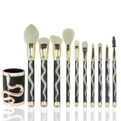 New 10pcs Luxurious Noble Snake Shape Makeup Brushes Set Eye Shadow Lip Brush Makeup Brushes Kit With The Gold/silver Snake Box