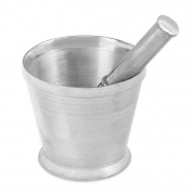 Heavy-Duty Non-Rusting Cast Aluminium Mortar and Pestle for Crushing Spices, Herbs, Garlic, Seeds