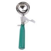 HS Stainless Steel Squeeze Ice Cream Scoop with Non-Slip Handle,6.4cm Round Disher,Green