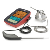 Polder Digital Touch-Screen BBQ and Smoker Thermometer, Dual Probes, 9 USDA Safe Temperature Presets, Red