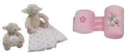 King Bear Baby Velour Pink Embroidered Set Sheep Plush with Pink Stars Printed Cover