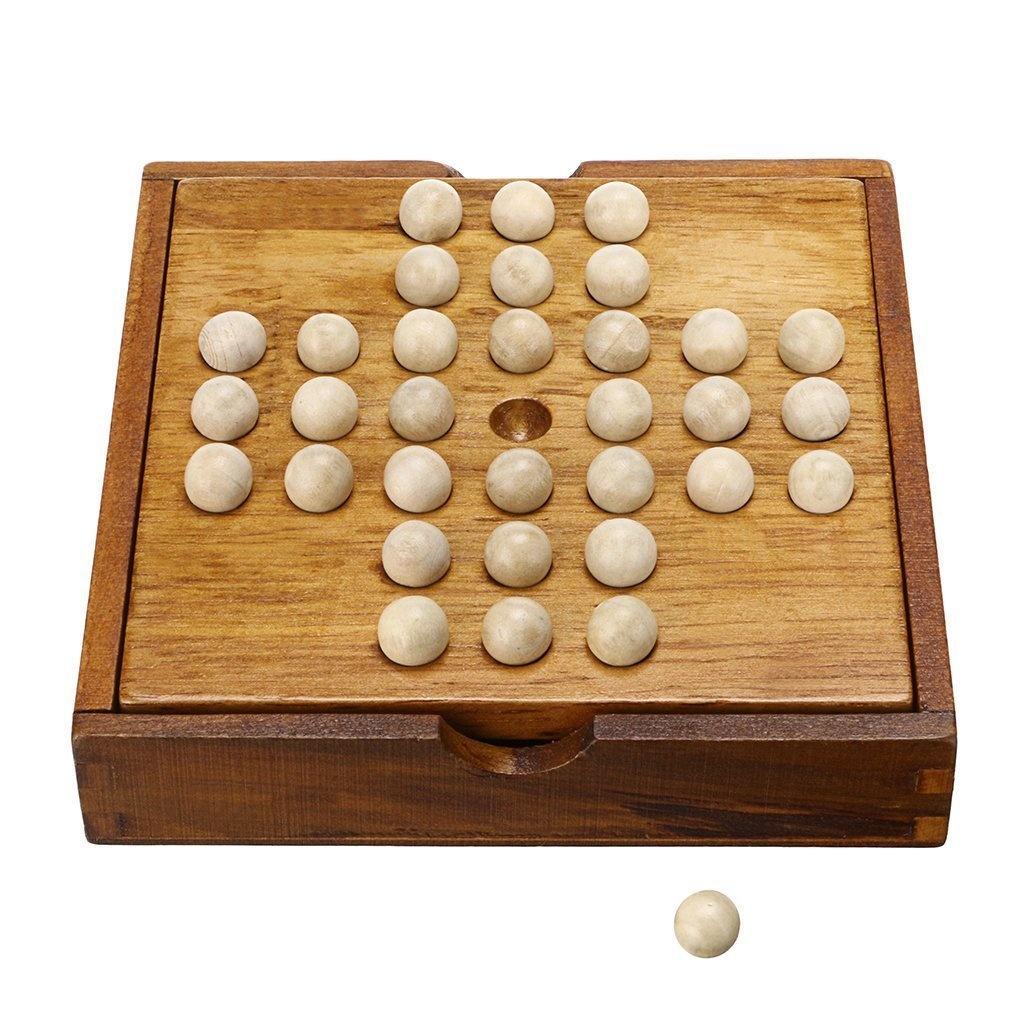 Winmaarc Handmade Wooden Peg Solitaire Board Game, Mini Teaser Board Games