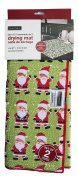 Set of Two Santa Clause Red and Green Microfiber Dish Drying Mat 38cm x 50cm