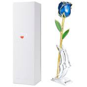 DEFAITH Pearl Blue Fresh Cut 24K Gold Rose w/Stand - Great Valentines Day / Anniversary / Mothers Day / Birthday Gift for Her Women Mom Wife Girlfriend