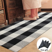 Ukeler Black and White Plaid Rugs Cotton Hand-woven Chequered Carpet Washable Non-skid Kitchen Rugs and Mat, 60cm x 130cm