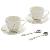 Artliving Porcelain Espresso cups with Saucers and Spoon, White Marbling Ceramic, Set of 2
