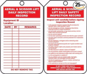 Accuform TRS206CTP Safety Tags Status Alert AERIAL & SCISSOR LIFT DAILY INSPECTION RECORD PF-Cardstock 25 PK