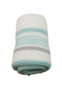 Hush Little Baby White & Mint Striped Knitted Blanket