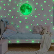 Wall Art Stickers,Morwind Creative Luminous Wall Decorative Moon Stars Sticker Glow in the Dark Light Decor Removable Vinyl Decals Mural Baby Nursery Room 38PC