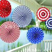 Zantec Party Decor Decor Wedding Decor Wall Hanging Decoration Flower Hanging Paper Fans Stars & Stripes Hanging Fan 6PCS Paper Fan for Baby Shower Birthday Red/White/Blue 33cm x 28cm