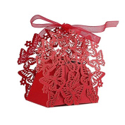 50pcs Romantic Wedding Favours Decor Butterfly Candy Gift Boxes Wedding Party Candy Box with Ribbon