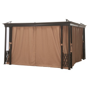 Sunjoy Universal Brown Privacy Curtain for Hexagon Gazebo - 187L x 87.4W in.