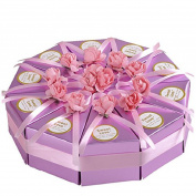 ZHOUBA 10 Pcs Creative Rose Flower Bow Triangle Paper Cake Case Married Wedding Candy Cake Box - C