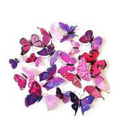 UEETEK 12pcs Lovely 3D Butterfly Whiteboard Fridge Magnets Art for DIY Crafts Room Wall Decor