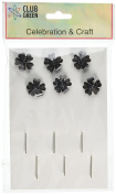 CLUB GREEN Flower with Centre/Stem, Black, 2 cm, 6 per pack