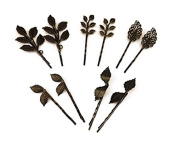 Zhichengbosi 10pcs Vintage Bronze Mix Style Athena Olive Branch Leaf Hair Clip Leaves Barrettes Bobby Pin Bride Headwear Edge Clip Clamps