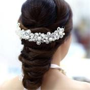 Bluester White pearl crystal bride headdress by hand bridal Wedding dress accessories