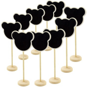 Owfeel Pack of 10PCS of Mini Wooden Retangle Chalkboard Blackboards On Stick Stand Place Holder Wedding Event Party Decorations Message Board Holder Bearhead Shape