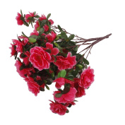 2 Bunches Fake Azalea Artificial Flowers Bouquet Wedding Home Decor Rose red