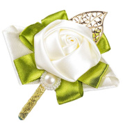 Sarahbridal Classic Stain Wedding Flowers Artificial Handmade Roses Cream WWF013