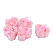 15pcs Bathroom Clean Fragrant Rose Petal Soap in 5 Heart Shape Boxes Pink
