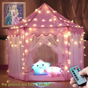 windpnn Kids Play Tent, Pink Princess Castle Play House, Large Light Up Playhouse w/ Remote LED Twinkle Star Light, Top Toy Gift Ideas for Girls/Boys/Toddlers/Baby
