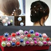 HuaYang Women Ladies Wedding Flower U-shaped Imitation Pearl Hair Clip Pin(5Pcs