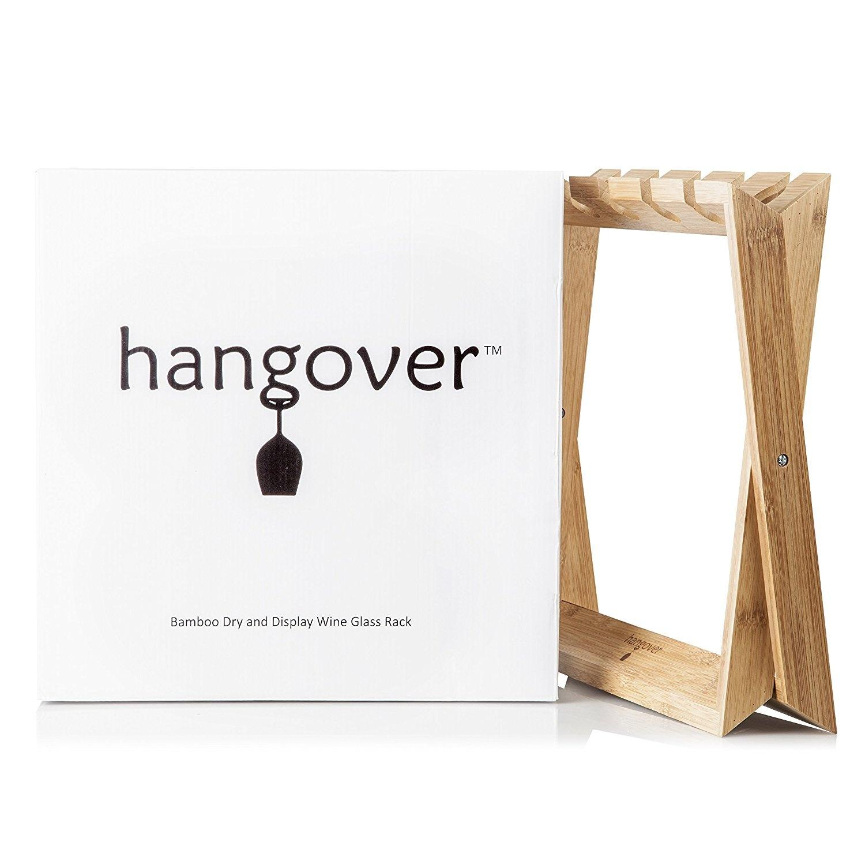 Bamboo Wine Glass Holder Rack Foldable Freestanding Wooden