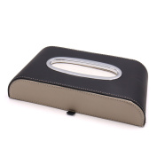 Black Beige Faux Leather Tissue Box Napkin Paper Facial Holder Case for Car Home