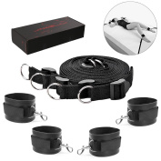 Bed Restraint Kit with Adjustable Cuffs for Ankle , Legs, Hand, Wrist for Couple Game