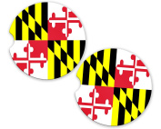 Maryland State Flag Custom Car Coasters Cup Holder Matching Coaster Set