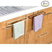 Alliebe 2pcs Towel Rack Hanging Holder for Organiser Bathroom Kitchen Cabinet Cupboard Hanger Over Door(White and Black)