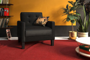 Novogratz Prescott Chair in Rich Faux Leather Upholstery, Modern Style with Track Arms, Black