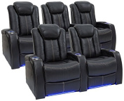 Seatcraft Delta Leather Home Theatre Seating Power Recline with Adjustable Power Headrests and SoundShaker