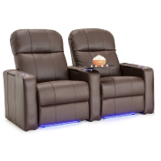 Seatcraft Venetian Bonded Leather Home Theatre Seating Manual Recline with In-Arm Storage, Lighted Cup Holders and Base
