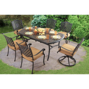 Sunjoy 110201019 Largemont Dining Set Made of Aluminium and Steel with Included Lazy Susan and Umbrella Base, 180cm x 100cm x 70cm