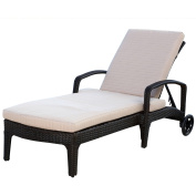 Devon and Claire Laguna Outdoor Espresso Brown Wicker Chaise Lounge with Cushion