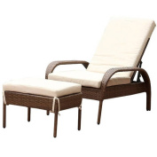 Devon and Claire Viking Outdoor Brown Wicker Chaise Lounge with Cushion