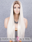 Chantiche Platinum Blonde Lace Front Wig Long Natural Straight Ombre Synthetic Wig with Brown Roots Heat Resistant Lace Wigs for Women
