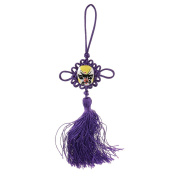 New Chinese Lucky Chinese Knot Tassel Hanging Mask Car Decor - Purple , XL