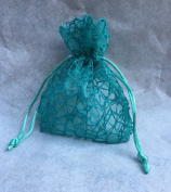 12 Bags for Holding Confetti in Green Organza Tiffany Mesh, 10 x 12 cm in Diameter