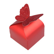 Demiawaking Mordern Sweet 100 Pcs Butterfly Candy Box Wedding Party Festival Favour Gift - Red