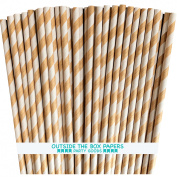 Kraft Brown and White Striped Paper Straws 100 Pack