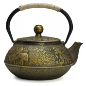 Fuloon Retro Cast Iron Teapot Tea Kettle with Strainer